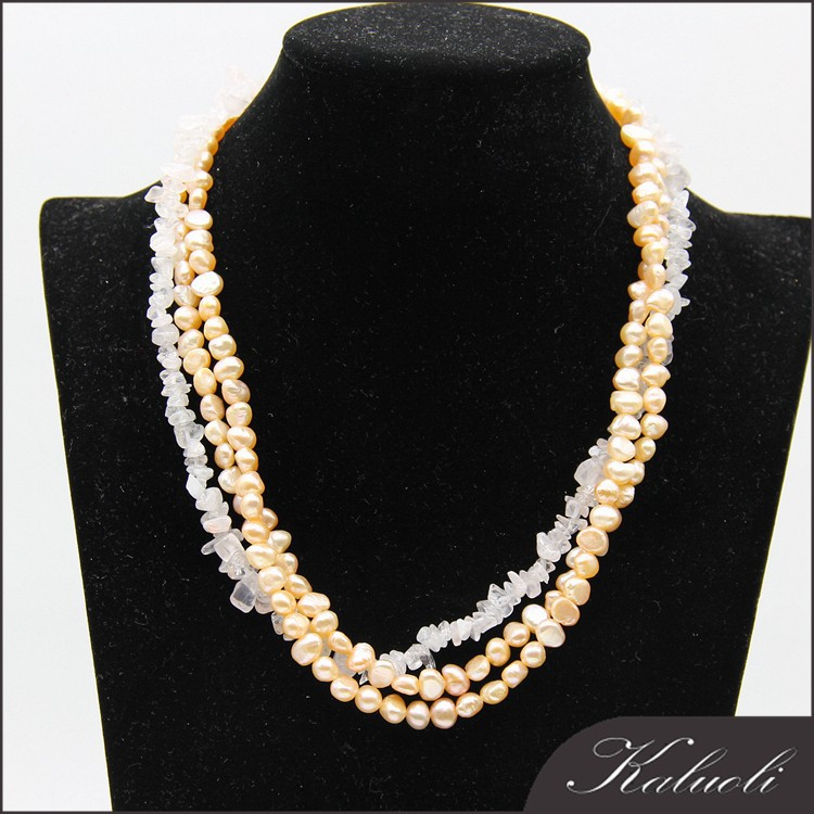 Freshwater baroque cultured pearl fashion necklace hot sale