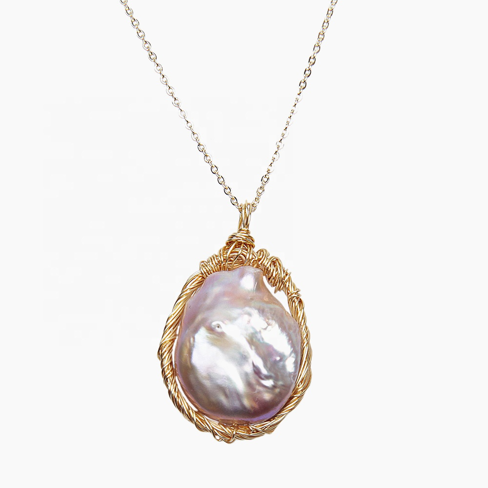 Gold plated pendant necklace 20-25mm real freshwater large size baroque pearl