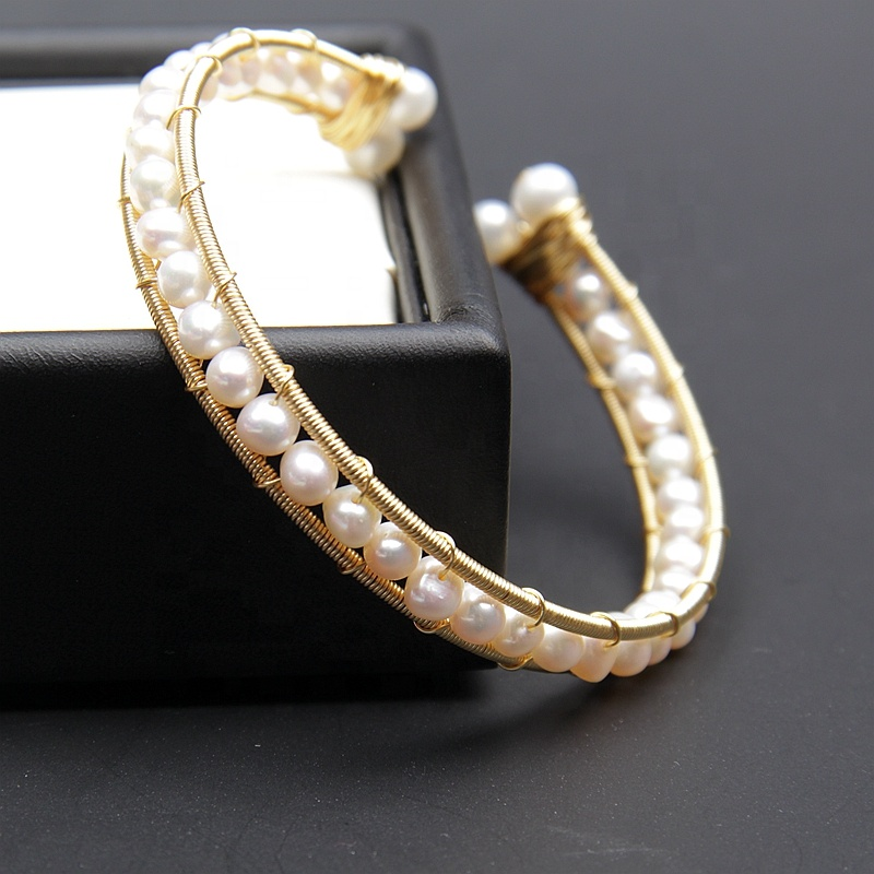 Handcraft fashion 5-6mm nice fresh water bracelets gold filled pearl
