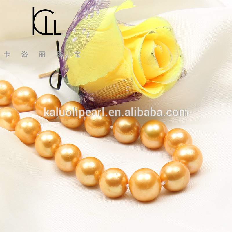China jewelry fresh water 12-15mm Edison golden pearl necklace