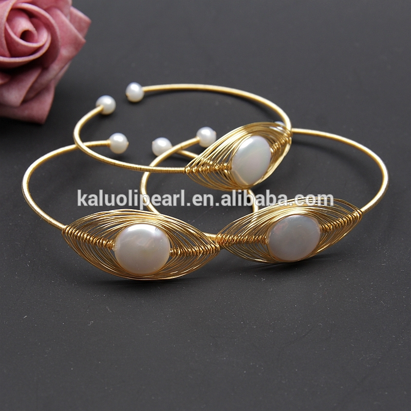 Pure hand winding real freshwater pearl bracelet jewelry real gold