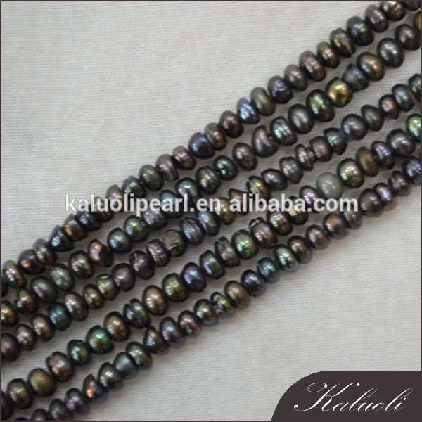 3-4 mm bread round B grade dyed grey color natural pearl sale