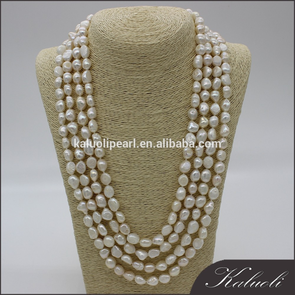 Wholesale 100 inch 9-10 mm baroque natural white long pearl necklace