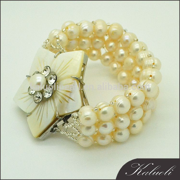 Natural ivory pearl jewelry girl mother of pearl flower bracelet