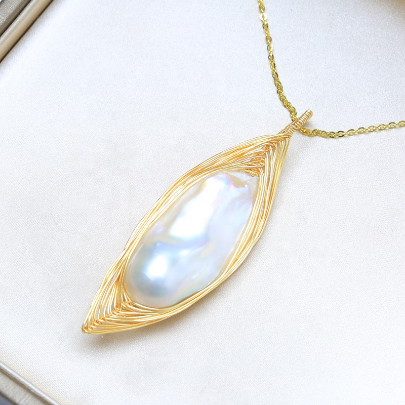 Famous large baroque genuine pearl design bulk custom jewelry from china