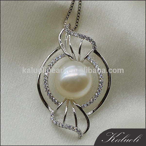 Famous fish shape zircon silver natural pearl jewelry