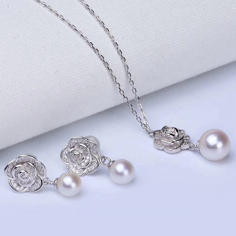 2019 rose real freshwater pearl earring pendant solid silver 925 set