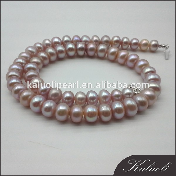 Traditional nice luster purple cultured pearls necklace for sale