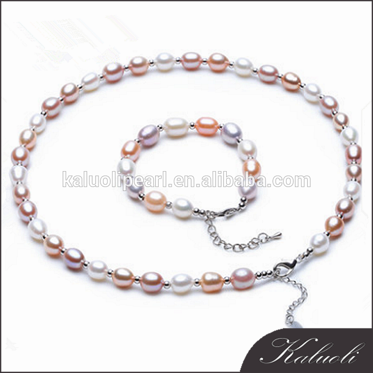 8-9 mm rice multi color AAA pearl set designs for decloration