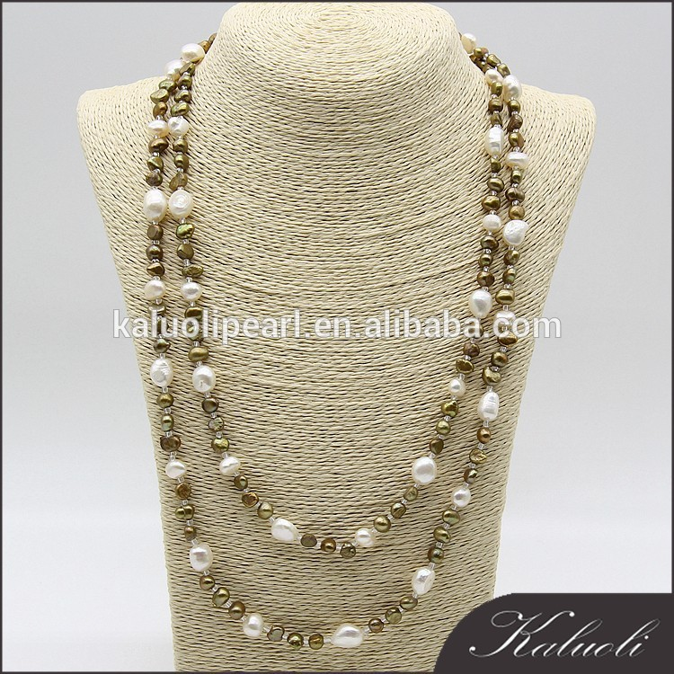 Wholesale customized multi color real pearl bead necklace,long pearl necklace