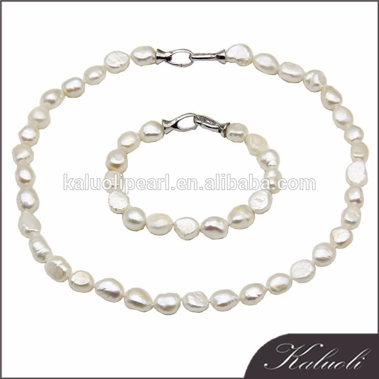 Classic 9-10 mm high quality baroque white pearl set designs