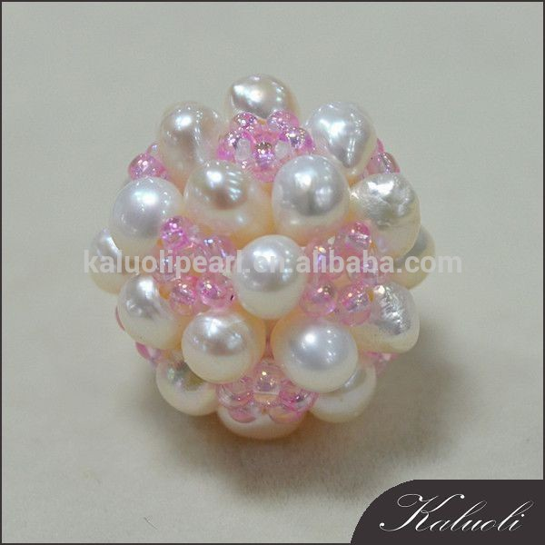 Wholesale zhuji fabric pink cotton handmade pearl ball decoration