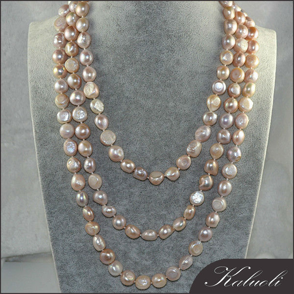 Natural purple big baroque freshwater pearl necklace long