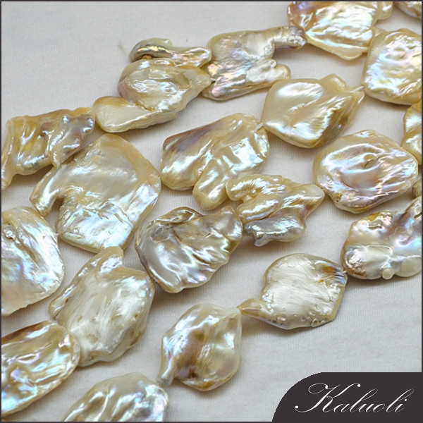 Zhuji large size natural freshwater flat baroque pearls