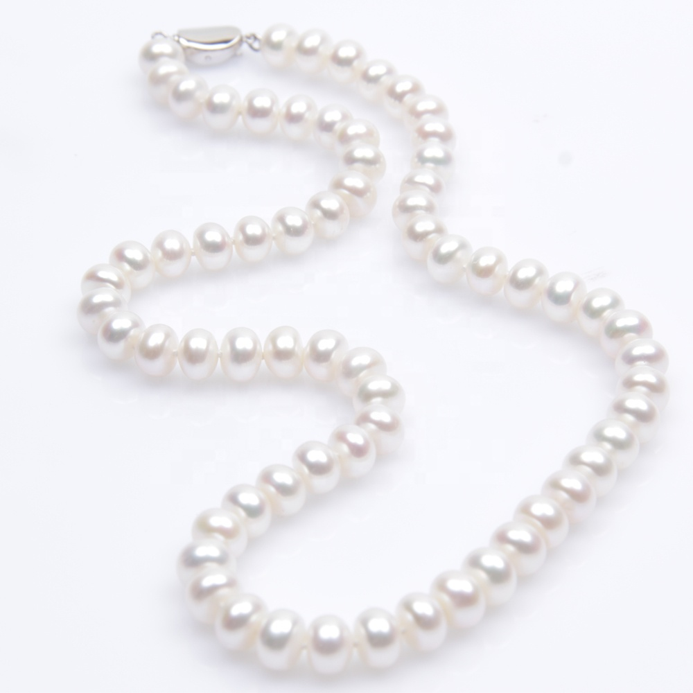 Zhuji 8-9mm bread round s925 clasp freshwater genuine pearl necklace
