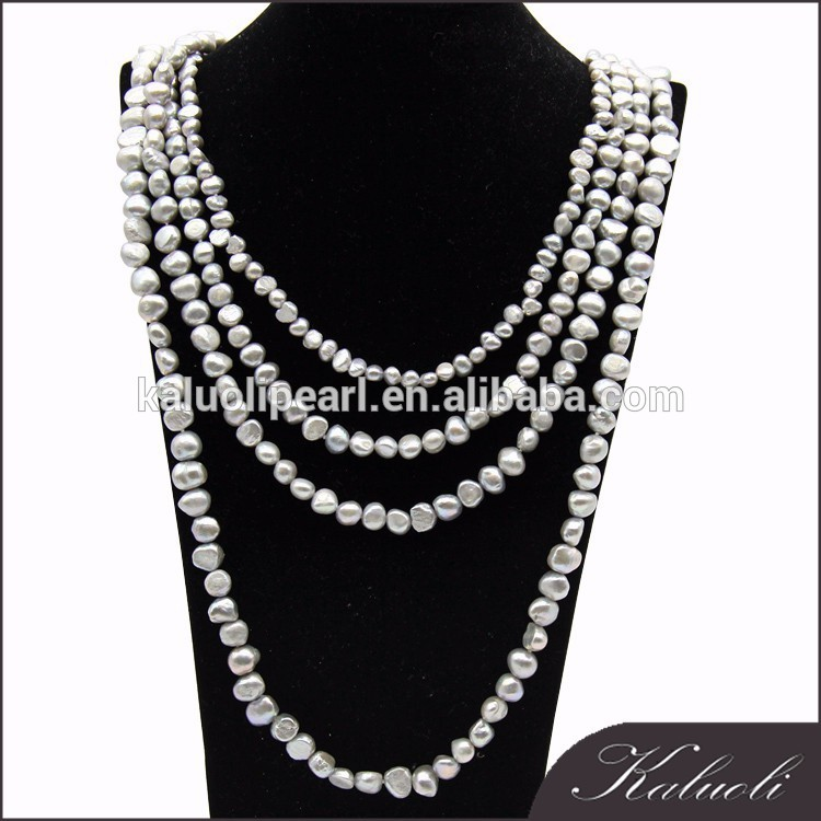 Customized classic four sizes baroque grey pearl set designs for promotion