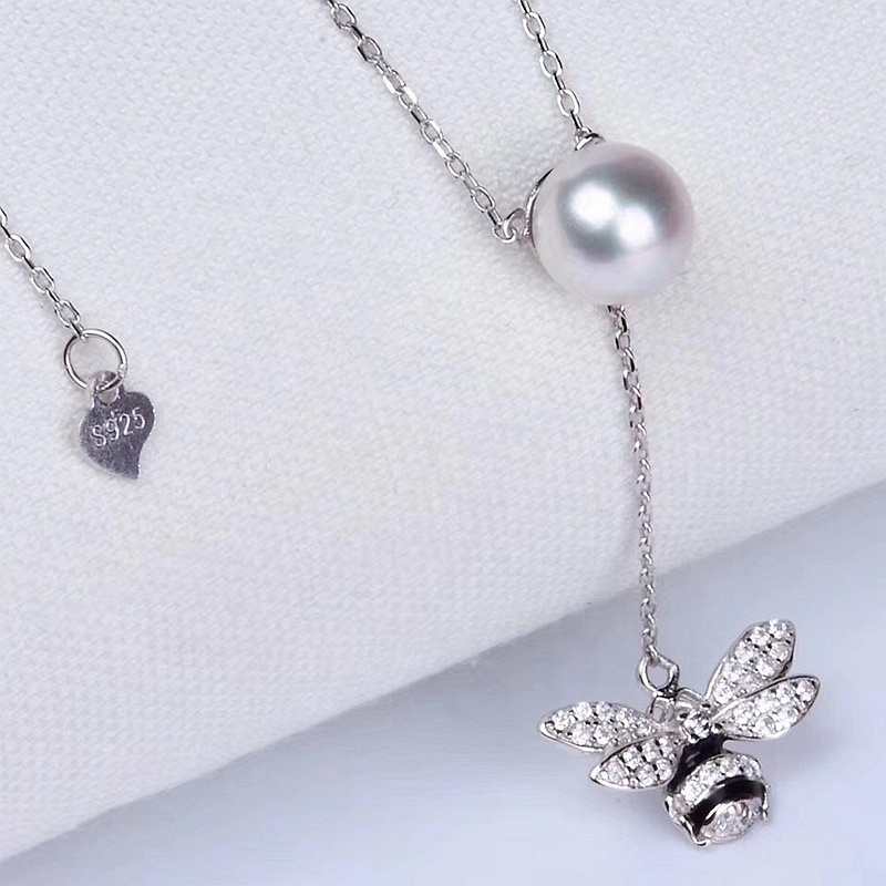 Solid 925 silver cute bee gem bezel necklace jewelry women pendant
