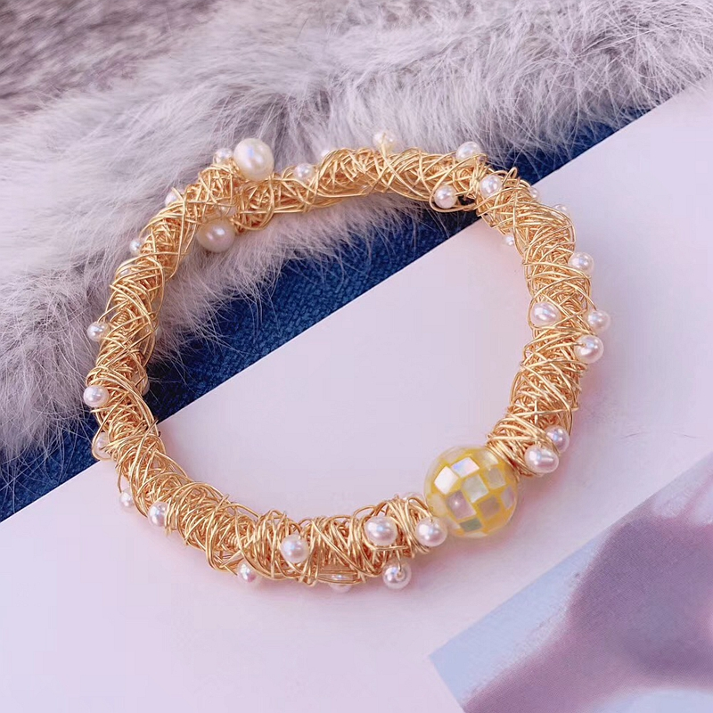 Designer hand wrap genuine pearl bead gold plated stretch bracelet