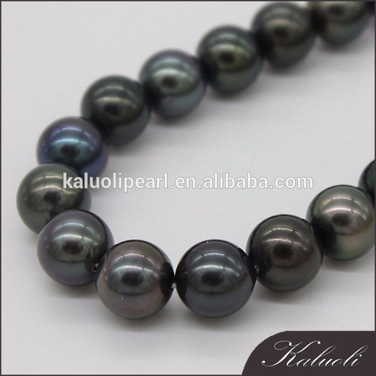 Top quality 9-10 mm AAA tahiti black pearl strand for lady