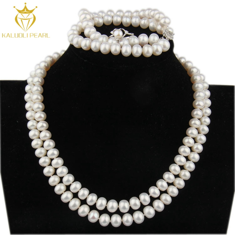 Best sale white natural freshwater pearl custom jewelry necklace set