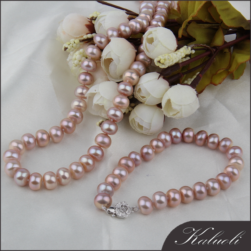 Famous 9 -10 mm purple fresh water cultured original pearl sets
