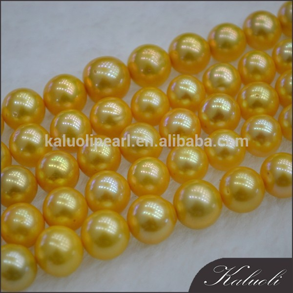 Hot sale 10-11mm round freshwater yellow colourful pearl