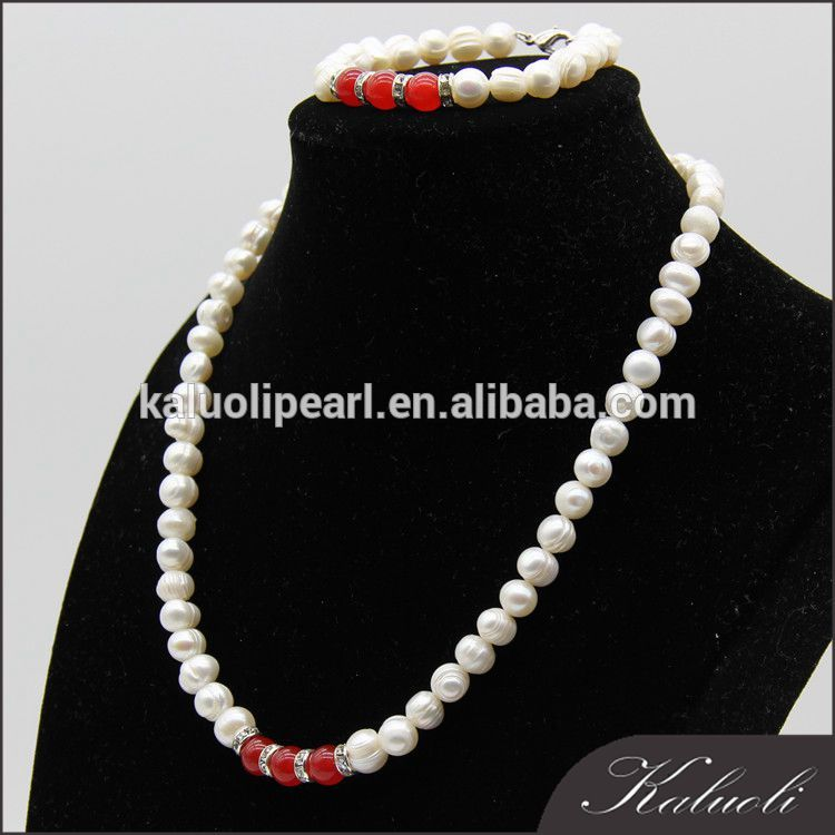 Decorated agate ladies real pearl bead jewellery set