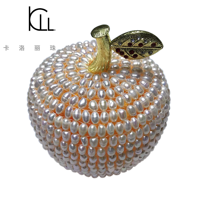 2018 hand knot genuine freshwater pearl apple decoration gift christmas