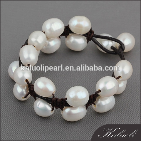 Customize length 100% handmade men women leather bracelet with pearl