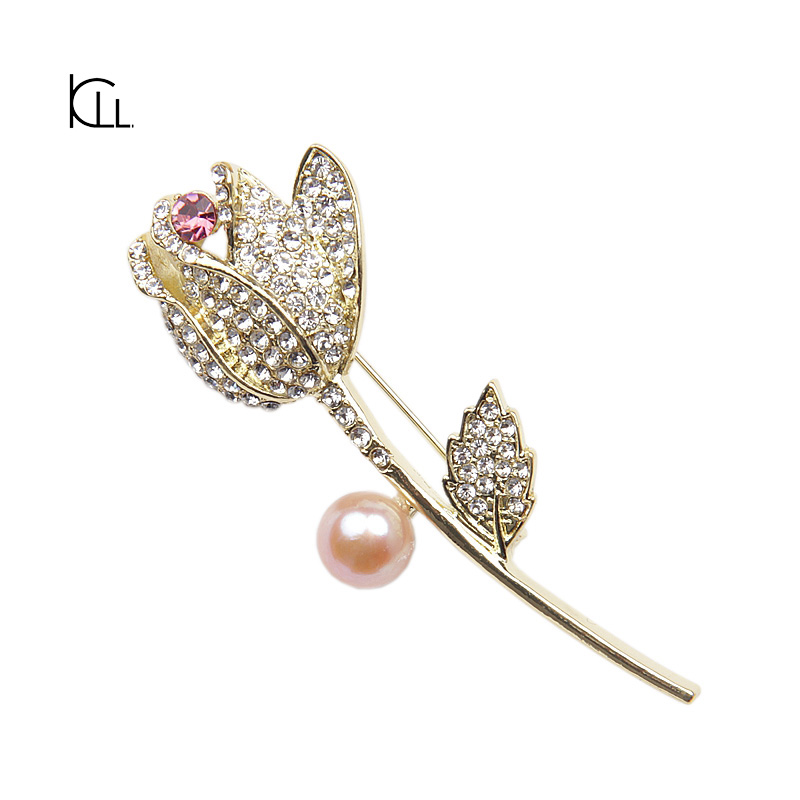 Elegant turlip design real pearl cultured lot rhinestone flower brooch large