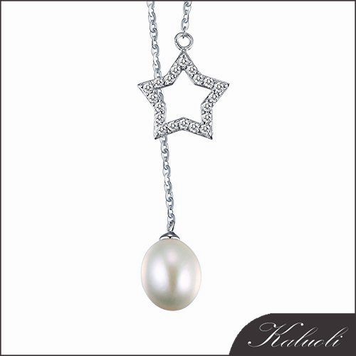 Five-pointed star design teardrop real pearl necklace designs small