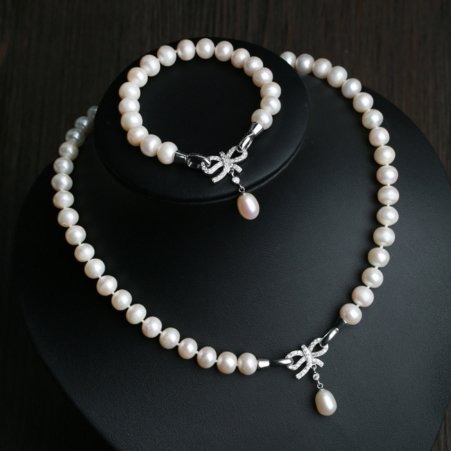 Genuine pearl high quality necklace bracelet silver925 wedding bridal jewelry set