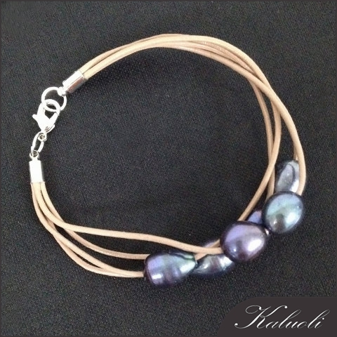 Freshwater pearl decoration male cheap leather bracelets