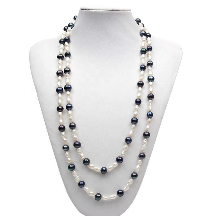 50 inch long chain fresh water real pearl costume jewelry wholesale