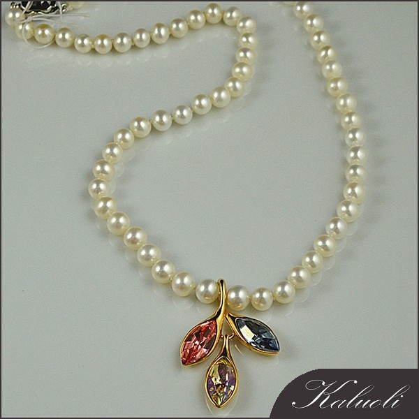With leaf pendant beautiful freshwater pearl necklace jewelry bead