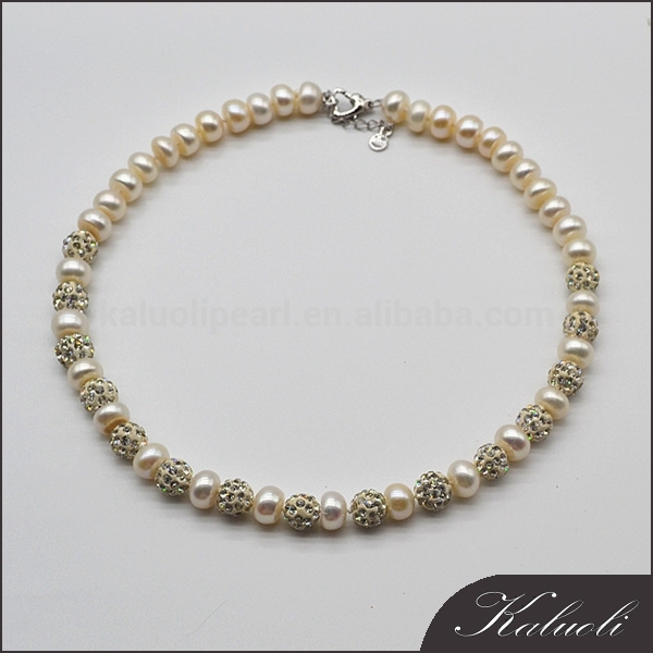 Elegant design pearl rhinestone necklace freshwater pearl jewelry
