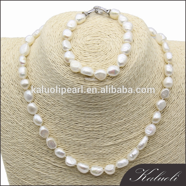 Traditional african real baroque white pearl beads set