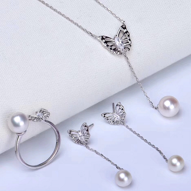 Butterfly solid 925 silver real natural pearl set expensive jewelry