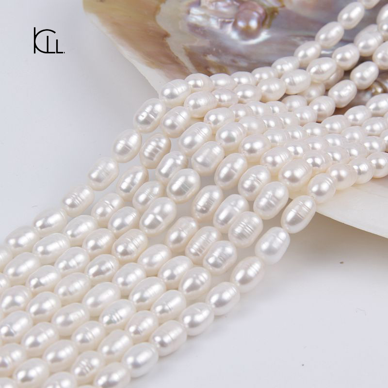 Zhuji 7-8mm ringed white sweet water seed pearl strand