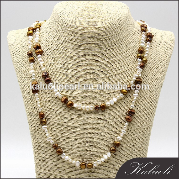 Zhu ji customized wholesale multi color baroque long pure pearl necklace