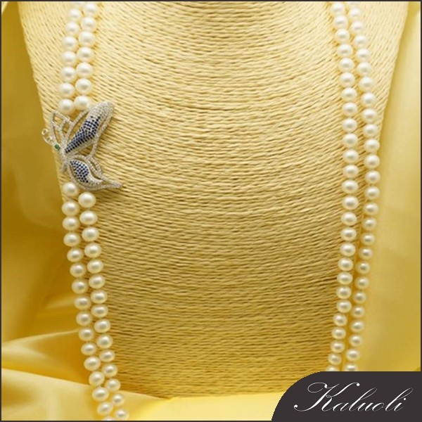 With fashion butterfly clasp natural pearl necklace long