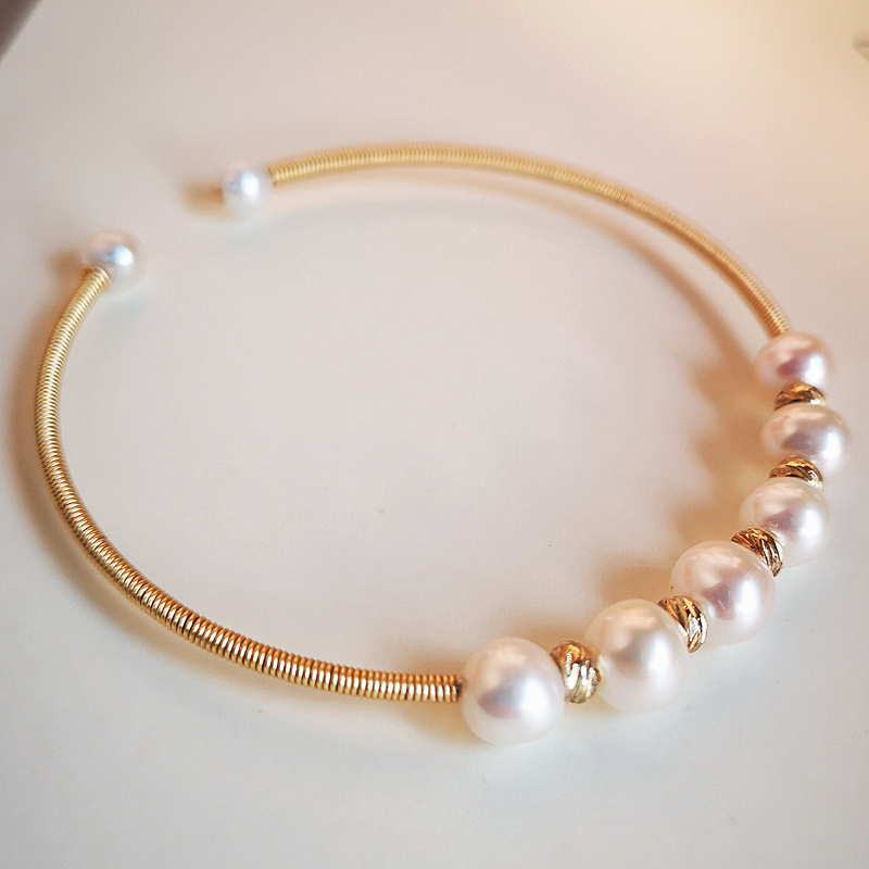 100% handmade jewellery real pearl colorful gold plated stretch bracelet