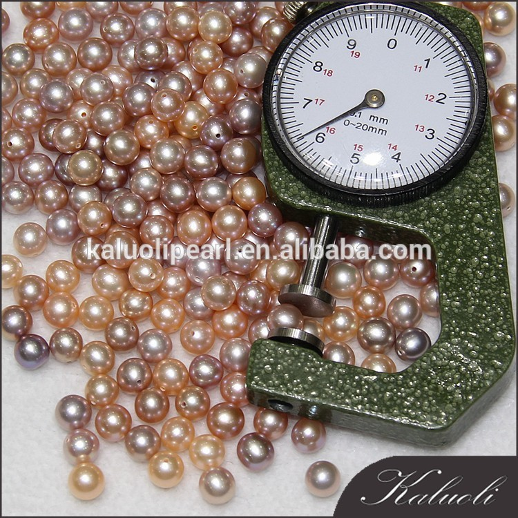 6-7mm AAA peach purple round loose no hole pearl beads in bulk
