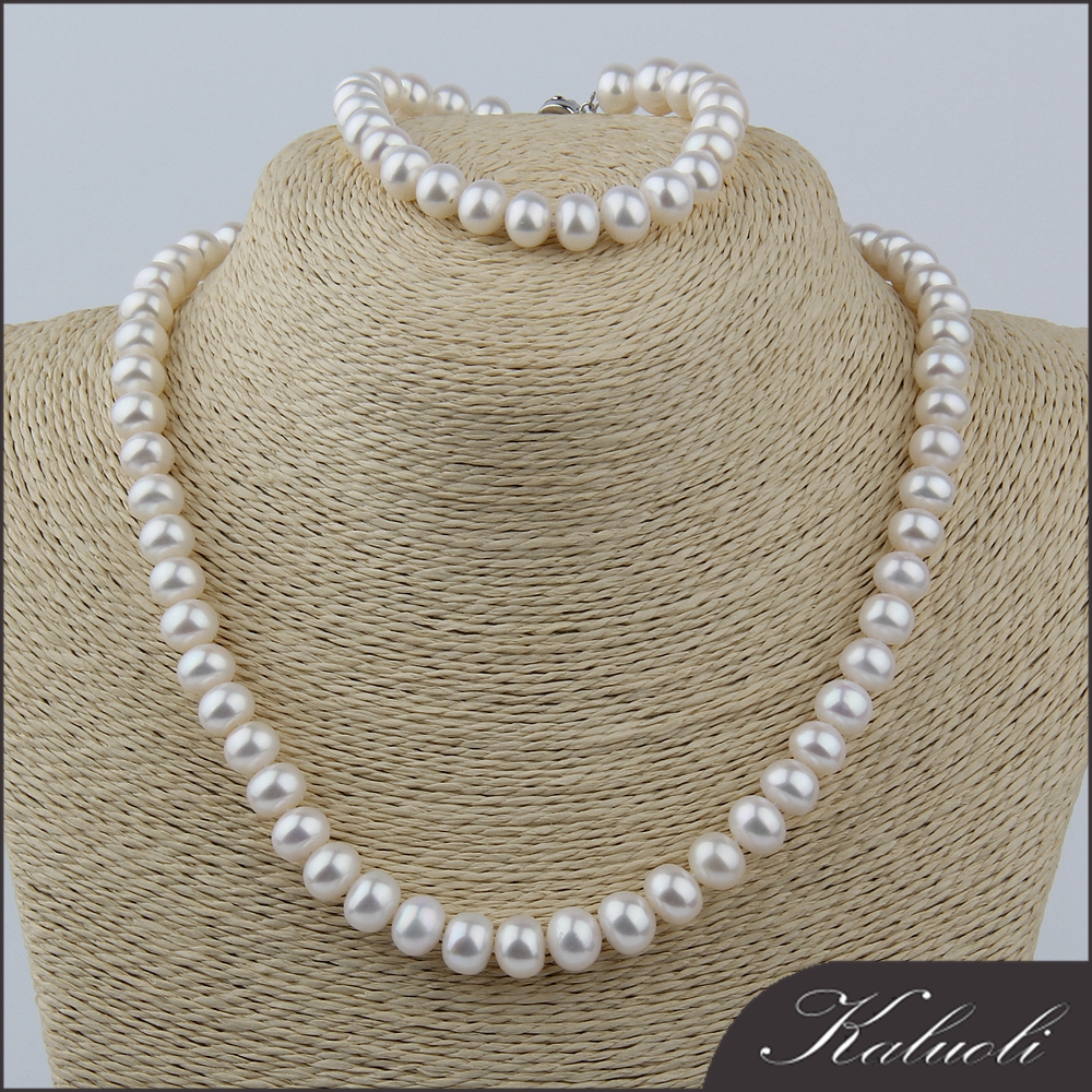 Bulk costume jewelry freshwater pearl white stone necklace set