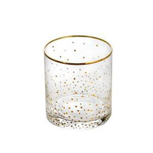 Whiskey glass blown cup with gold geometric decals