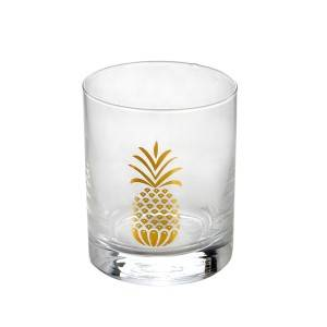 360ml Gold pineapple decal glass tumbler