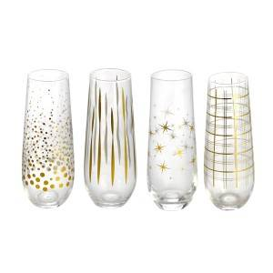 320ML Sparkling wine glass cup with gold decal