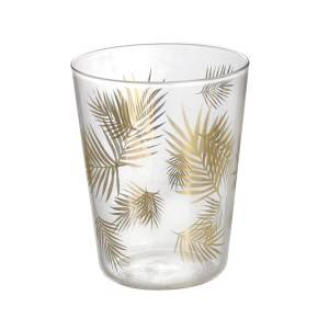 380ml Stylish gold leaf decals glass tumbler