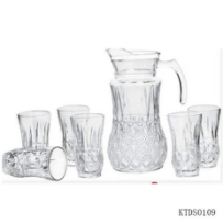 2019 wholesale price Glass Jar With Metal Lid - 1pc glass jug and 6pcs glass cup set – Kotto