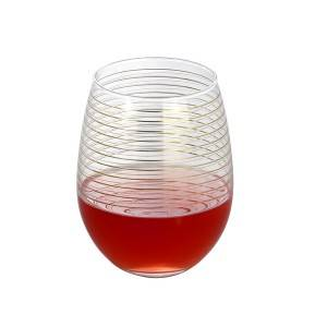 600ml egg shaped red wine glass cup with gold decal decoration